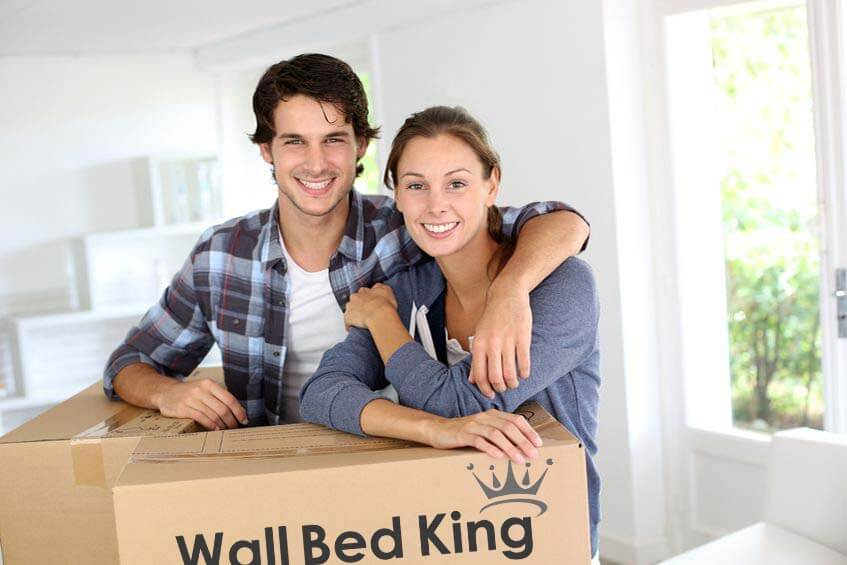 A couple with a wall bed king flat-packed wall bed kit